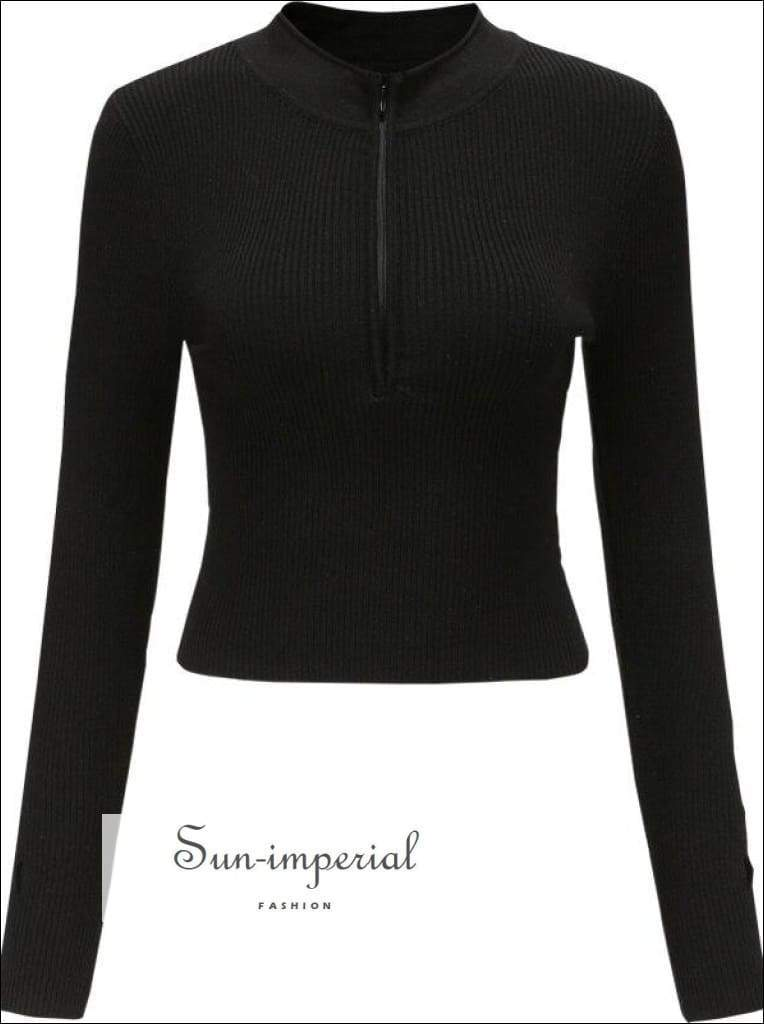 Sun-imperial Deep V Neck Center Zipper Women Long Sleeve Sweater Slim Cut Knit Basic style, fall outfit, knit, knitted, long sleeve