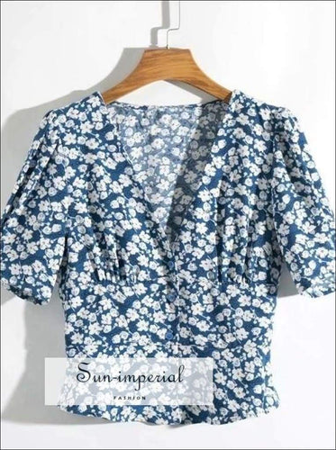 Sun-imperial Elegant Floral Blouse Women Short Sleeve Korean Style Tops Female Style Usa