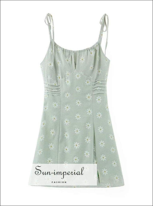 daisy print, florl print, flower printSun-imperial Elegant Lace Sp Women Mini Dresses Holiday Green Daisy Print Vestido