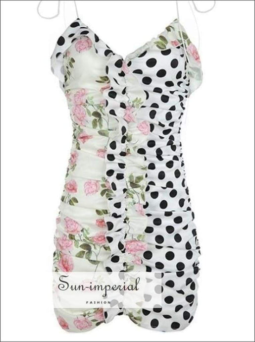 Sun-imperial Women V-Neck bodycon floral dot Patchwork Print  Mini Dress With Ruffles detail And Tie Straps