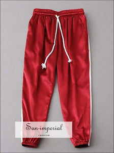 Sun-imperial Fashion Women Satin Track Pants Classic Two Stripe Sweatpants Cuffed 9 SUN-IMPERIAL United States