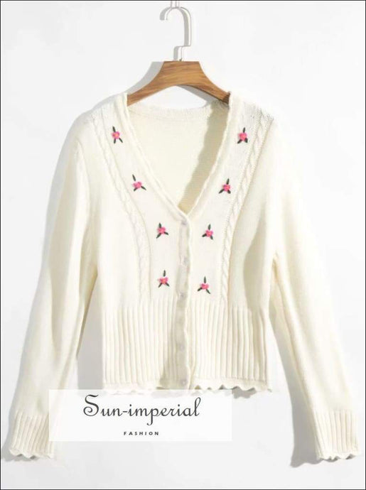 Sun-imperial Floral Knitted Cardigan Spring Buttoned V Neck Lace Short Sweaters Casual Slim cardigan, floral print, flower flowers knit