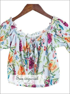 Sun-imperial Floral off Shoulder Blouse Women Summer Tops Short Sleeve top Style