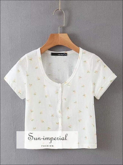 Sun-imperial Floral Print Fitted Ribbed Eyelet Crop top Button Down Short Sleeved T-shirt High
