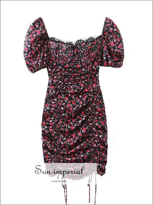 Sun-imperial Floral Print Short Puff Sleeve Mini Dress Satin Eyelash Lace V Neck Ruched Bust Dress