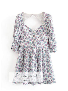 Sun-imperial Floral Print Women Dresses Square Neck Puff Sleeve Lace Backless Short Sleeve Summer