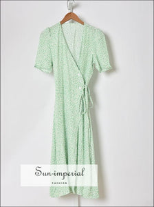 Sun-imperial Green Floral Tie side Buttoned Down Warp Midi Dress vintage style SUN-IMPERIAL United States