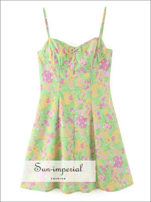 Sun-imperial Green Floral Print Cami Strap Mini Short Dress for Women Vintage Backless Bra V Neck a SUN-IMPERIAL United States