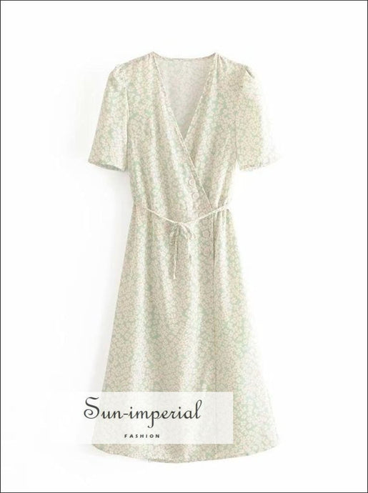 Sun-imperial Green Pastel Floral Tie side Buttoned Down Warp Midi Dress