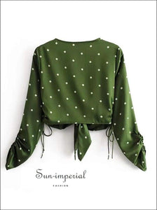 Sun-imperial Green Tie front Polka Dot Satin Blouse Ruched Sleeve Drawstring Crop top