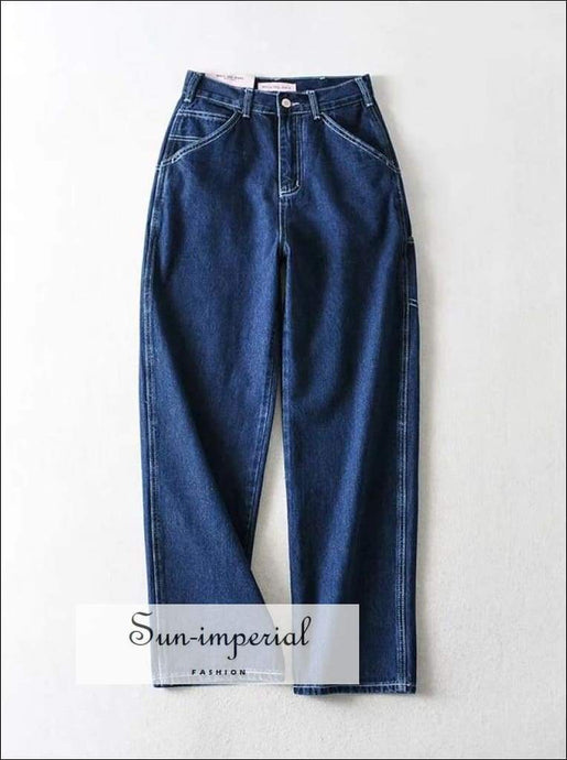 Sun-imperial High Rise Straight Leg Jean Dark Wash Relaxed Fit Denim Pants High Street Fashion