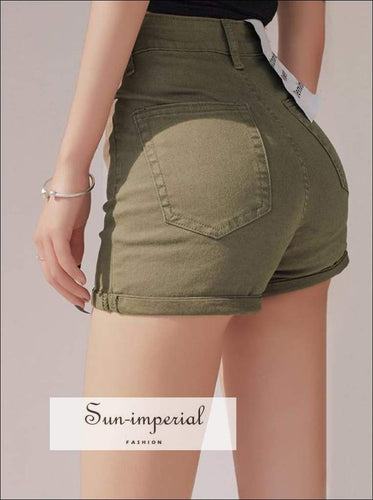 Sun-imperial High Waist Petite Roll Hem Denim Shorts Skinny Shorts High Street Fashion