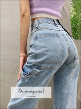 Sun-imperial High Waist Relaxed Fit Light Wash Denim Jeans with Hammer Loop detail High Street