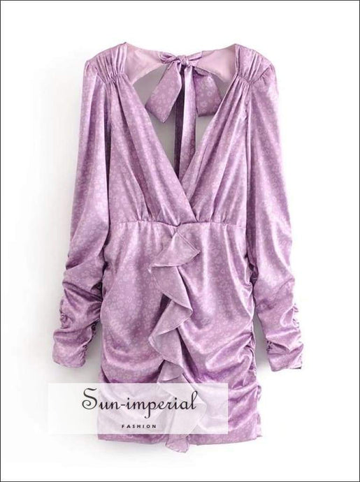 Sun-imperial Lavender Floral Print Ruched Bust Vintage Warp Dress Bow Tie Long Puff Sleeve Mini