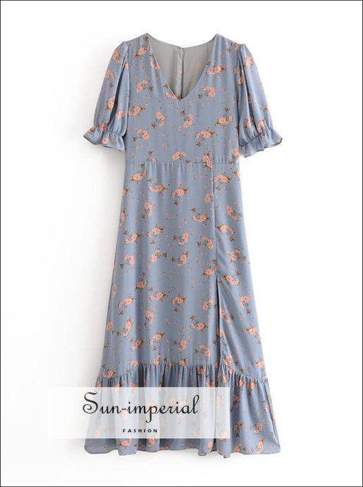 Sun-imperial Lavender Floral Vintage Dress Short Flare Sleeve Maxi with front Split SUN-IMPERIAL United States
