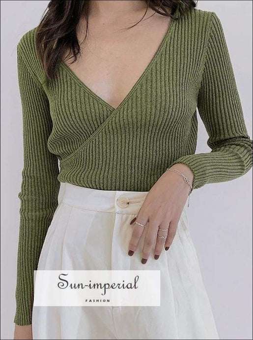 Sun-imperial Long Sleeve Wrap front Rib Knit Jumper Wrap Knit top High Street Fashion