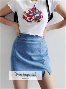 Sun-imperial Mini Denim Skirt with front Split High Street Fashion