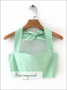 Sun-imperial Mint Green Two Piece Mini Skirt Set with Crop top