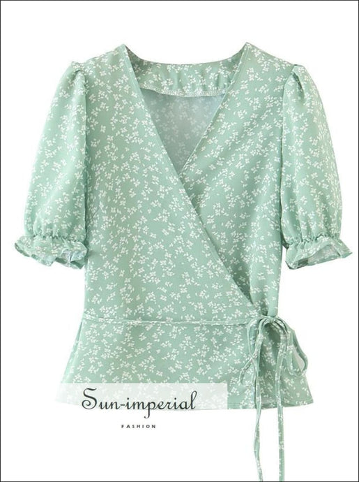 Sun-imperial Mint Green V Neck Floral Print Vintage Blouse Short Sleeve top