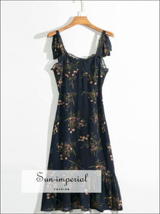 Sun-imperial Navy Vintage Floral Women Midi Dress Strapless Backless Dress