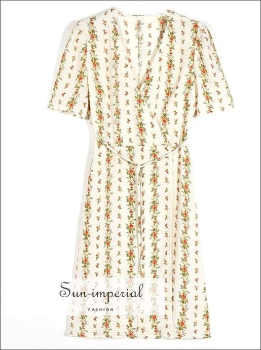 Sun-imperial new V Neck front Slit Floral Wrap Dress Woman Tie Bow Lace up Waist Short Sleeve SUN-IMPERIAL United States