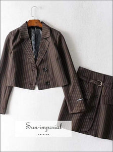 Sun-Imperial Sun-imperial Notched Collar Crop Blazer with Buckle Tailored Mini Skirt Two Pieces Sets Girl's Suit