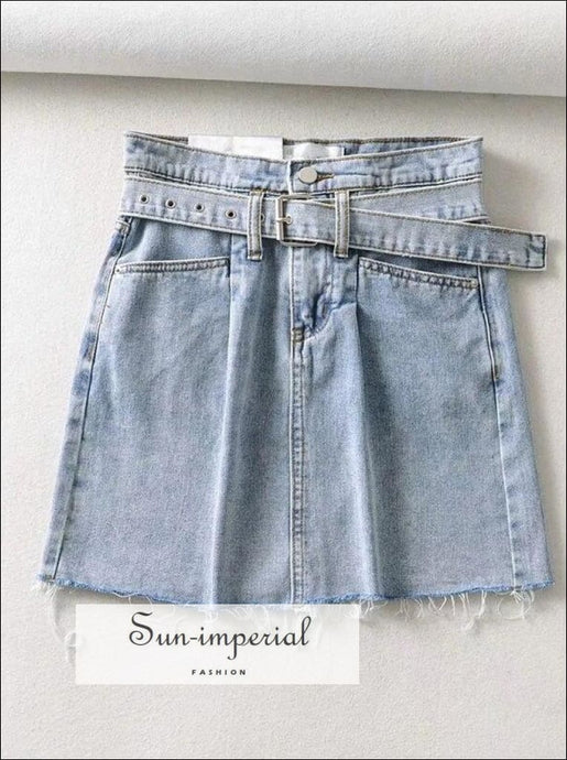 Sun-imperial Paperbag Waist Belted Denim Mini Skirt in Light Blue High Street Fashion Sun-Imperial In SUN-IMPERIAL United States