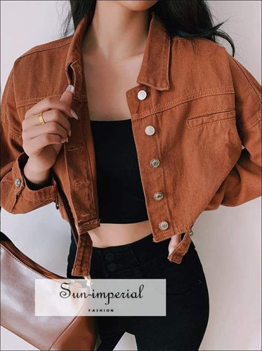 Sun-imperial Petite Cropped Denim Jacket with Special Design back High Street Fashion
