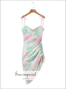 Sun-imperial Pink and Green Tie Dye Strap Flower Print side Drawstring Dress