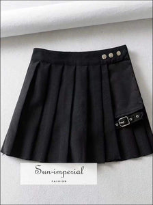 Sun-imperial Pleated Mini Skirt with Thigh Belt Punk Style High Street Fashion SUN-IMPERIAL United States