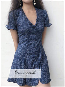 Sun-imperial Print V Neck Button up Mini Dress with Frill Trimming High Street Fashion SUN-IMPERIAL United States