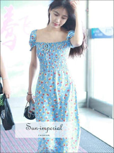 Sun-imperial Puff Sleeve Floral Dress Women Square Collar Split Ruched Bow Slim Waist Blue Print