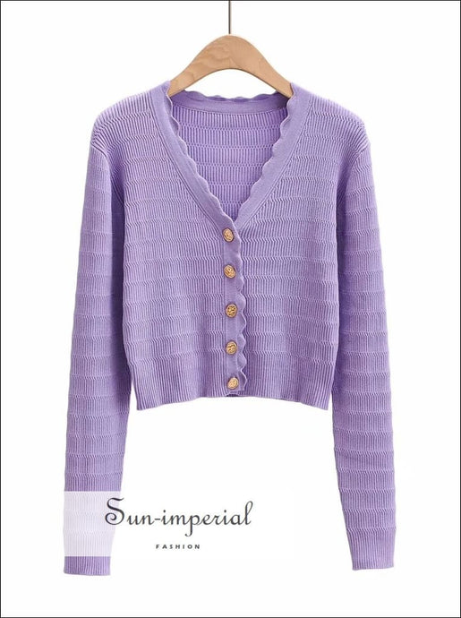 Sun -imperial Purple V Neck Crop Knit Cardigan with Wave Hem Flower Coin Golden Buttons through out cardigan, chick sexy style, vintage