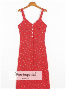 Sun -imperial Red Flower Print Wide Cami Strap Midi Buttoned Summer Dress