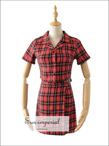Sun-imperial Red Vintage Button front Plaid Blouse with Mini Plaid Skirt High Street Fashion