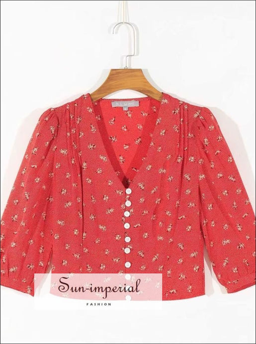 Sun-imperial Red Vintage Slim V Neck Rose Print Buttoned top SUN-IMPERIAL United States