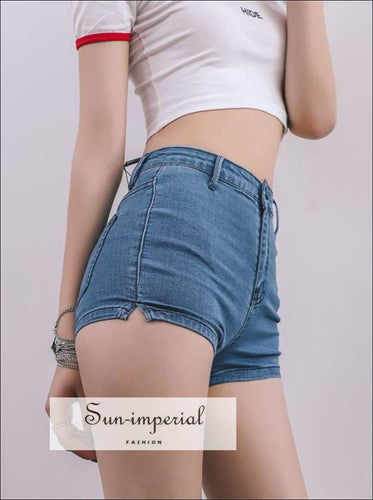 Sun-imperial Sexy High Waist Split Hem Denim Shorts High Street Fashion
