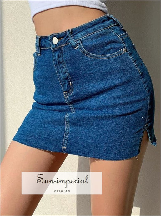 Sun-imperial side Splits Denim Mini Skirt with Underpants High Street Fashion SUN-IMPERIAL United States