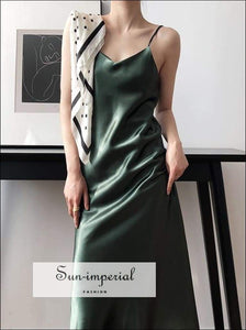 Sun-imperial Sleeveless Women Cami Strap Dresses V Neck Soft Satin Silk Slip Dress Ladies Long vintage SUN-IMPERIAL United States