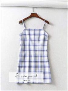 Sun-imperial Square Neck Cami Straps Plaid Mini Dress in Purple and Blue High Street Fashion