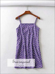 Sun-imperial Square Neck Floral Print Mini Dress in Purple High Street Fashion