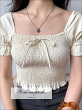 Sun-imperial Square Neck Puff Sleeve Woman Blouses Shirts Slim Sweet Bow Short Sleeve Summer Women