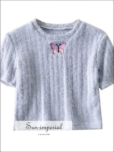 Sun-imperial Streetwear Butterfly Embroidery Women T-shirt Purple Cropped Shirts Slim Knitted Tshirt