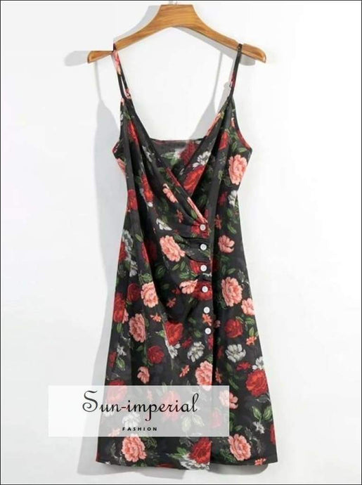 Sun-imperial Summer Black Women Cami Strap Dress Backless Floral Print Beach Dress Holiday
