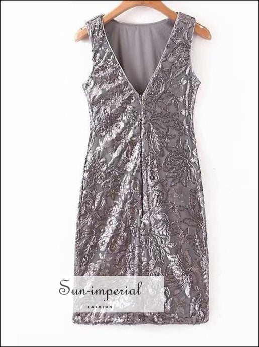 Sun-imperial Summer Floral Sequin Dress V-neck Glitter Sleeveless Womens Dresses Silver Slim Dress