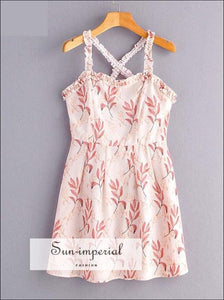 Sun-imperial Summer Women Ruched Cami Strap Dress Pink Print Backless Dress Holiday Beach Dresses