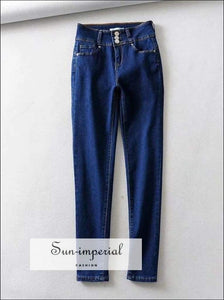 Sun-imperial Three Buttons up Pencil Jeans Sexy Skinny Denim Pants High Street Fashion
