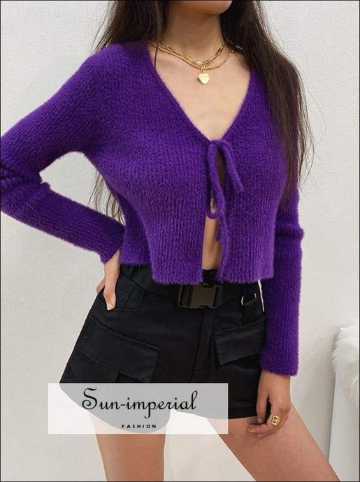 Sun-imperial Tie front Fluffy Cropped Cardigan in Rib High Street Fashion