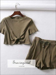 Sun-imperial Twist detail Ribbed Tee with Drawstring Waist Rib Shorts Summer Sets High Street