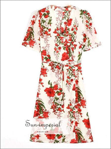 Sun-imperial V Neck front Slit Red Flower Wrap Dress Woman Tie Bow Lace up Waist Short Sleeve Short